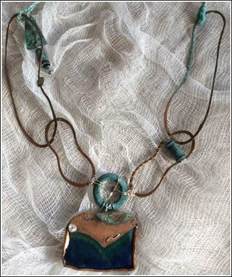 Close up of Blue Dreaming Neckpiece by Annie Desantis