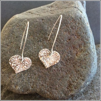 Pure Silver foral heart earrings