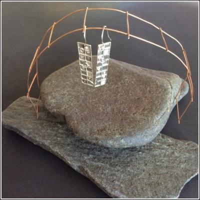 Pure silver geometric rectangle earrings by Annie Desantis