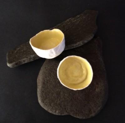Tiny encaustic bowls by Annie Desantis